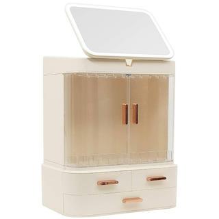 コスメ収納ボックス メイク収納ボックス 化粧品収納ボックス LEDライト鏡付き(メイクボックス)