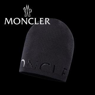 モンクレール(MONCLER)の48 MONCLER 男女兼用 ブラック ニットキャップ ニット帽(ニット帽/ビーニー)