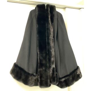 ドゥロワー(Drawer)のミカコナカムラmikakonakamura黒カシミアミンクマントケープコート(毛皮/ファーコート)