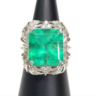 【超美品】 10ctエメラルド、0.25ctダイヤ、Pt900プラチナ リング(リング(指輪))