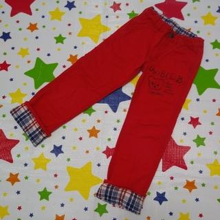 DOUBLE.B - ダブルB らくがき風パンツ 130cm 赤 ミキハウス 折り返しチェック