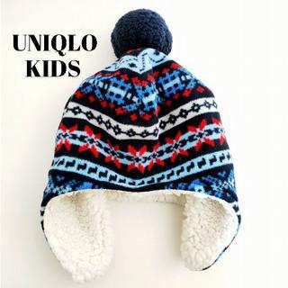 ユニクロ(UNIQLO)のUNIQLO☆フリースボア耳あてニット帽防寒ノルディック柄ユニクロ(帽子)