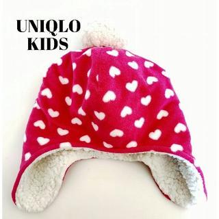 ユニクロ(UNIQLO)のUNIQLO☆フリースボア耳あて帽子ニット帽防寒ハートユニクロ(帽子)