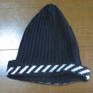 オフホワイト(OFF-WHITE)のオフホワイト 16aw ニット帽 ビーニー 黒 (ニット帽/ビーニー)