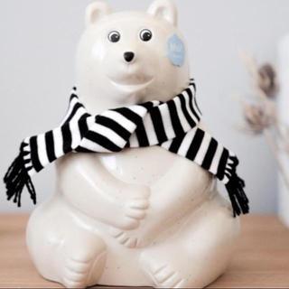 マリメッコ(marimekko)のシロクマ 貯金箱 限定 ボーダーマフラー(雑貨)