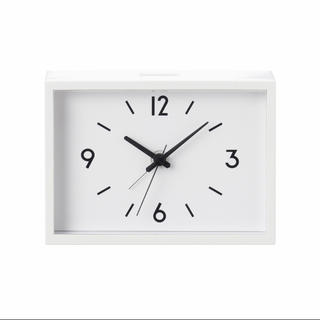 MUJI (無印良品) - 新品★無印良品★ 駅の時計・アラームクロック・アイボリー  寝室 限定 木目◆♩