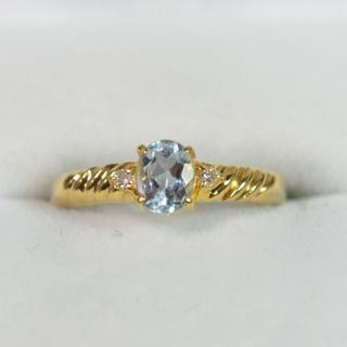 K18 アクアマリン ダイヤ 指輪(リング(指輪))