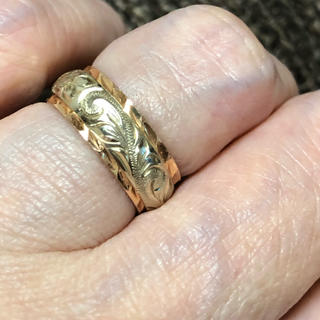 k14ピンクゴールド&ホワイトゴールドツートンハワイアンジュエリーリング(リング(指輪))