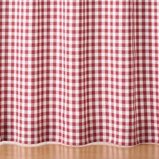 ムジルシリョウヒン(MUJI (無印良品))の無印良品 赤チェックカーテン6枚■100×178cm丈 プリーツカーテン 新品(カーテン)