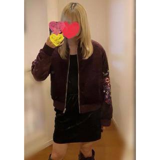 ウィゴー(WEGO)の未使用リバーシブル ブルゾン  紫パープル ジャケット 刺繍 鳥 ジャンバー(ブルゾン)