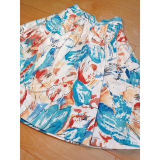 ダズリン(dazzlin)のdazzlin☆カラフル水彩花柄フレアスカート 美品(ミニスカート)