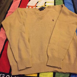 ポロラルフローレン(POLO RALPH LAUREN)のラルフローレン、数回使用、ウールセーターMベージュブラウン刺繍(ニット/セーター)