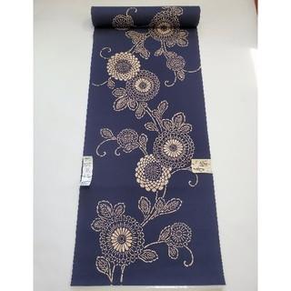 新品 小幅 浴衣反物 注染 先染め地 紺一色染め 綿100% 菊柄 教材 日本製
