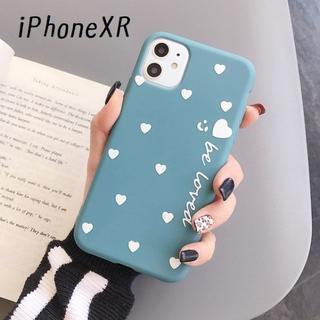 大人気!iPhoneXR ハート カバー ケース ブルー(iPhoneケース)