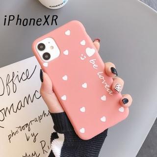 大人気!iPhoneXR ハート カバー ケース コーラル(iPhoneケース)