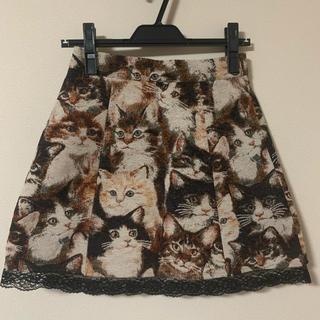 アンクルージュ(Ank Rouge)のアンクルージュ 猫柄ミニスカート(ミニスカート)