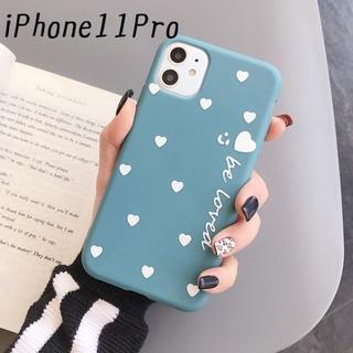 大人気!iPhone11Pro ハート カバー ケース ブルー(iPhoneケース)