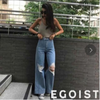 エゴイスト(EGOIST)のEGOIST フレアパンツ ハイウエストパンツ ダメージデニム(デニム/ジーンズ)