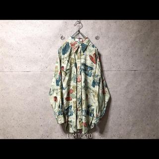 古着 シャツ レディース グリーン レトロ アート 総柄 ポリシャツ 長袖(シャツ/ブラウス(長袖/七分))