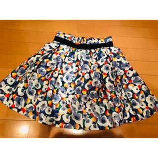 フレイアイディー(FRAY I.D)の花柄 スカート ブル(ひざ丈スカート)