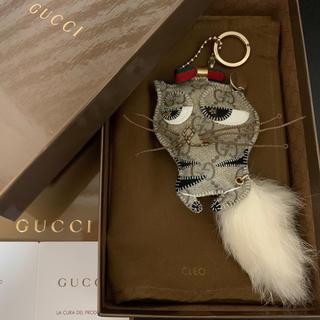 グッチ(Gucci)のレア◆GUCCI◆グッチ◆ガットリ◆クレオ◆猫◆バッグチャームキーホルダーGG柄(キーホルダー)
