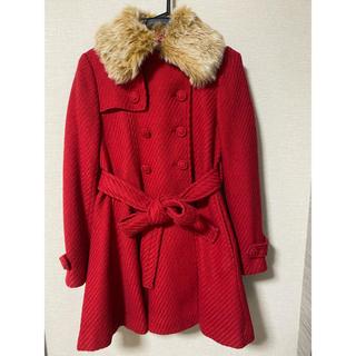 オリーブデオリーブ(OLIVEdesOLIVE)の赤コート ミディアム丈(ピーコート)