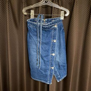 リエンダ(rienda)のrienda  デニムスカート 25インチ サロペット取り外し可能(ひざ丈スカート)