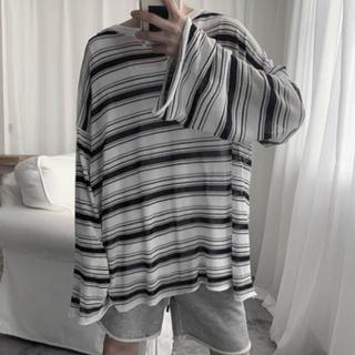 ハレ(HARE)のハレ ボーダーロンティー ホワイト ブラック(Tシャツ/カットソー(七分/長袖))