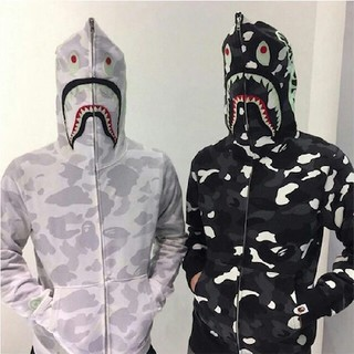 アベイシングエイプ(A BATHING APE)のSPACE CAMO SHARK FULL ZIP DOUBLE HOODIE(パーカー)
