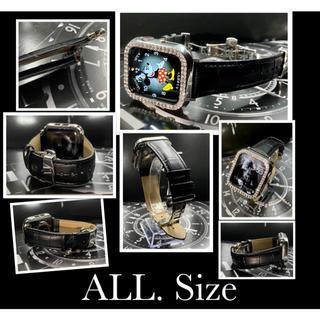 アップルウォッチ用カスタム 本革 クロコダイルベルトダイヤカバーセット(腕時計(デジタル))