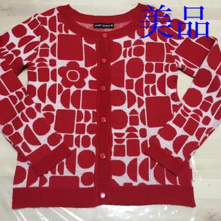 マリークワント(MARY QUANT)のマリークワント 赤カーディガンニット 美品(ニット/セーター)