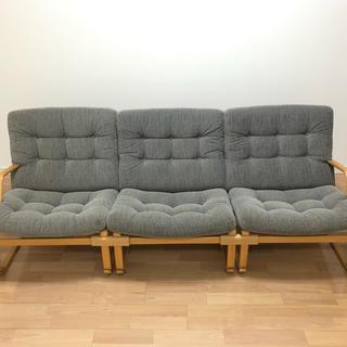 オオツカカグ(大塚家具)の天童木工 イージーチェアーソファ 3脚 グレー(三人掛けソファ)
