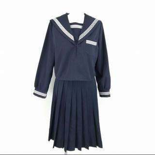 セーラー服 スカート 上下2点セット 富士ヨット 冬物 長袖 白3本線 紺 制服(衣装)