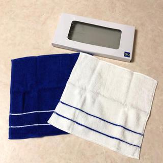 ジーユー(GU)のGU ハンカチ*2枚セット【ブルー×ホワイト】(ハンカチ/ポケットチーフ)