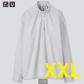 ユニクロ(UNIQLO)のUNIQLOU ユニクロユー コットンサテンスタンドカラーシャツ ライトブルー(シャツ/ブラウス(長袖/七分))