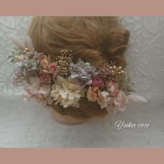アンティークローズ ドライフラワー ヘッドドレス 髪飾り❁︎成人式 結婚式 (ヘッドドレス/ドレス)