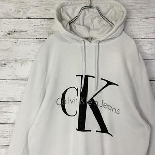 カルバンクライン(Calvin Klein)の【大人気】カルバンクライン ビックロゴ パーカー プルオーバー 定番 Lサイズ(パーカー)