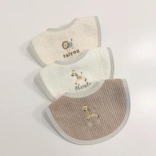 プティマイン(petit main)のパイル地スタイ 名前刺繍 ワンポイント刺繍 1枚(スタイ/よだれかけ)