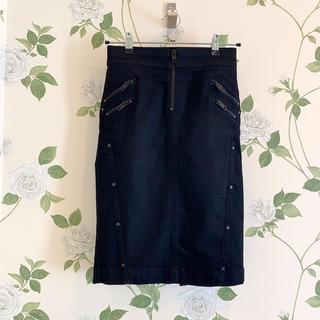 ディーゼル(DIESEL)の【ディーゼルDIESEL】ブラックストレッチタイトスカート(25)デニムスカート(ひざ丈スカート)