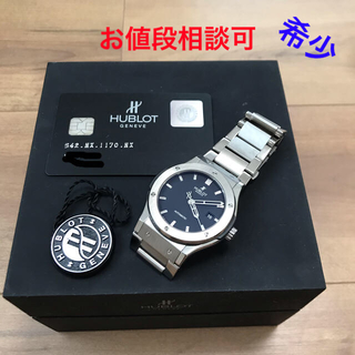 HUBLOT - 【美品】(希少)ウブロクラシックフュージョンチタンベルト自動巻腕時計