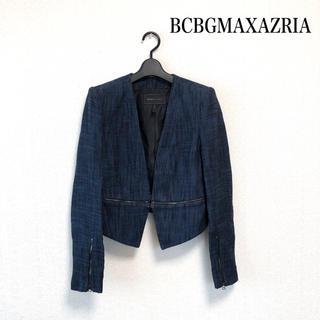 ビーシービージーマックスアズリア(BCBGMAXAZRIA)のBCBGMAXAZRIA カラーレスジャケット ネイビー 秋冬 オシャレ❤️(ノーカラージャケット)