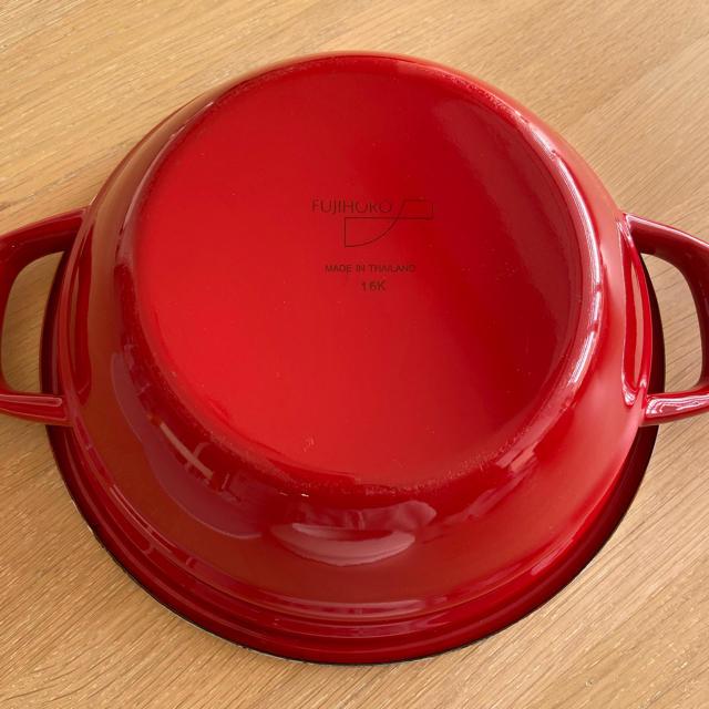富士ホーロー(フジホーロー)の富士ホーロー HoneyWare 天ぷら鍋 温度計付き 24cm レッド インテリア/住まい/日用品のキッチン/食器(鍋/フライパン)の商品写真