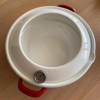 フジホーロー(富士ホーロー)の富士ホーロー HoneyWare 天ぷら鍋 温度計付き 24cm レッド(鍋/フライパン)
