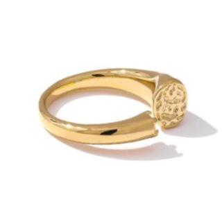 ショーメ(CHAUMET)の◆キュービックジルコニアとゴールドメタルのオープンリング 送料無料(リング(指輪))