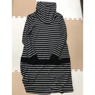 マタニティ 授乳服 ワンピース タートル カジュアル L(マタニティワンピース)