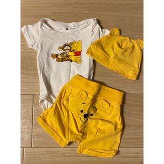 エイチアンドエム(H&M)のH&M*エイチアンドエム くまのプーさん ロンパース&ズボン&帽子セット(ロンパース)