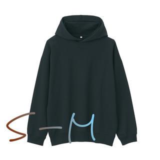 ムジルシリョウヒン(MUJI (無印良品))の無印 ムジラボ 度詰め 裏毛プルオーバーパーカー  s-m 黒 新品未使用(パーカー)