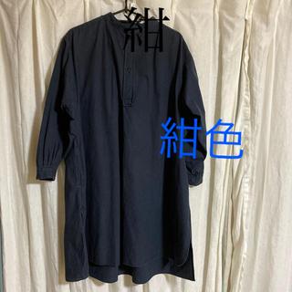 ヤエカ(YAECA)のHOBONICHI✖️YAECAスモックドレス紺(ひざ丈ワンピース)