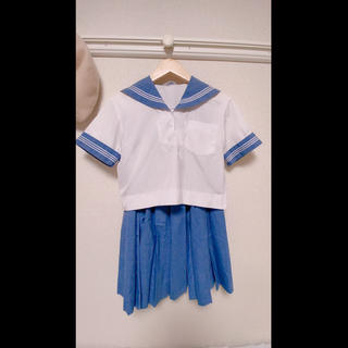 セーラー服 スカート 制服 夏服 青 水色(衣装)