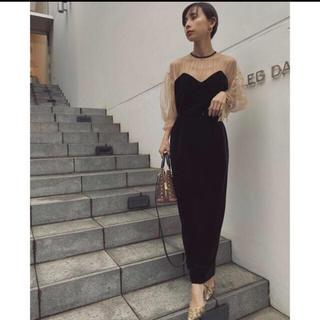 アメリヴィンテージ(Ameri VINTAGE)のTULLE SLEEVE TIGHT DRESS(ロングドレス)